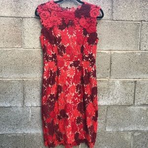 Anthropologie Fall Colors Red Gorgeous Dress 36""
